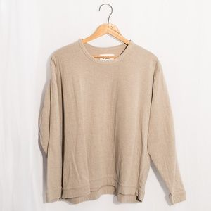 Flax Long Sleeve Cotton Tan T-Shirt Large